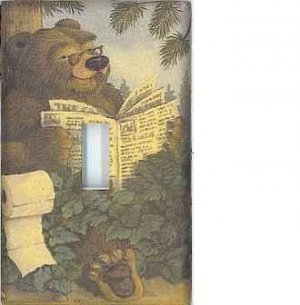 Bathroom Bear decorative single light switch plate switchplate