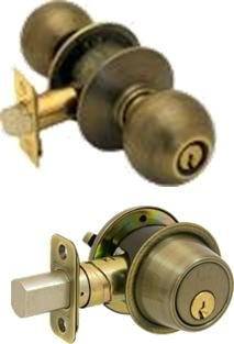 Bilock high security single sided deadbolt and entry knob lock combo pack. Antique brass finish