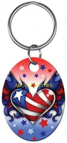 Tattoo Johnny USA Heart key chain KC-TJ2