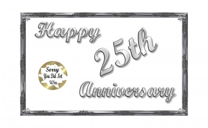 12 - 25th Silver Anniversary Favors Scratch Off Game Tickets PERSONALIZED