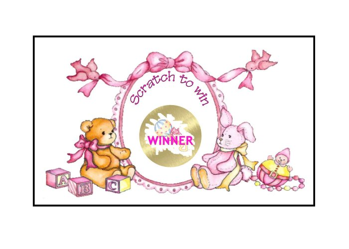 12 Baby Girl Shower Party Favors Scratch Off Game Tickets PERSONALIZED