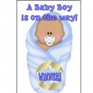 12 Blue African American or Latino Boy Baby Bundle Shower Party Favors Scratch Off Game Tickets