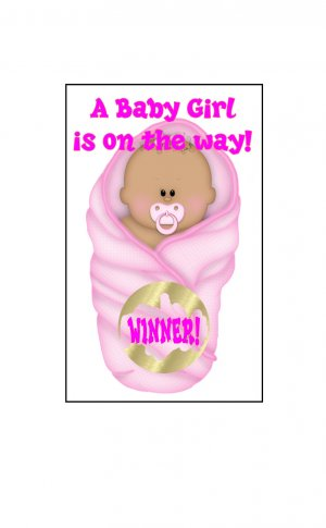 12 pink African American or Latino Girl Baby Bundle Shower Party Favors Scratch Off Game Tickets