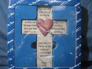 Cross Bless-Us Collection Heart 1 John 4:10 God Sent His Son  #007637