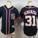 Youth Washington Nationals 31 Max Scherzer Navy Blue Cool Base Baseball Jersey