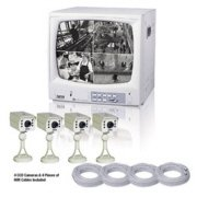 """JWIN BLACK & WHITE 12"""" QUAD MONITOR WITH 4 CCD CAMERAS & 4 CABLES"""