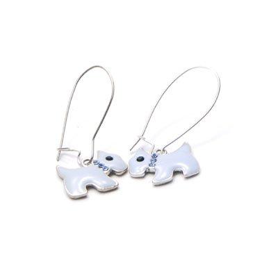 exsj1001 White Dog Earring