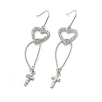 exsj1037 Heart n Cross Earring