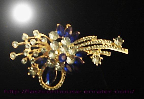 nnc1005 Blue Crystal Flower Golden Pin