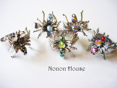 Spider Crystal Rings