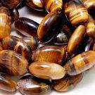 Tiger Eye Gemstone Oval Beads (lot of 10) - Jewelry Dreams item GSF1