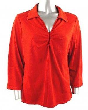 Stretch Knit V-neck Top (Plus Size)-0050BC-JA004-b2b
