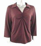 Stretch Knit V-neck Top (Plus Size)-0050BR-JA004-b2b