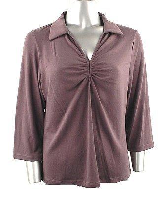 Stretch Knit V-neck Top (Plus Size)-0050CF-JA004-b2b