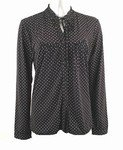 Polka-Dot Print Stretch Knit Shirt (Plus Size)-0208BK-JA304-b2b