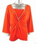 Stretch Knit V-neck Top (Plus Size)-4466RS-ES208-b2b