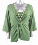 Stretch Knit V-neck Top (Plus Size)-4466GN-ES208-b2b