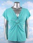 Stretch Knit V-neck Top (Plus Size)-1070BL-EX114-b2b