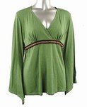 Stretch Knit V-neck Top (Plus Size)-4629GN-ES058-b2b