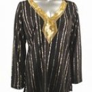 Stretch Knit V-neck Top (Plus Size)-4895BK-ES529-b2b