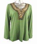 Stretch Knit V-neck Top (Plus Size)-4671GN-ES529-b2b