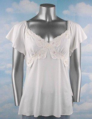 Stretch Knit V-neck Top (Plus Size)-4977IV-ES576-b2b