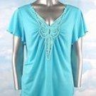 Stretch Knit V-neck Top (Plus Size)-5004BL-ES576-b2b