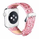 44mm 42mm Pink Glitter & PU Leather Apple Watch Strap [RNCCS32852017184PNK42]
