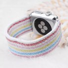 38mm White/Striped Stretchy Loop Apple Watch Band[RNCCS4000438997640WHTSTR38]