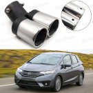 Car Exhaust Muffler Tip Tail Pipe End Trim Silver for Honda Fit 2015-2017 #1018