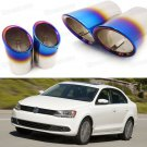 2x Car Exhaust Muffler Tip Tail Pipe End Trim Blue for VW Jetta 2011-2017