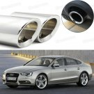 2Pcs Car Exhaust Muffler Tip Tail Pipe Trim Silver for Audi A5 2012-2017