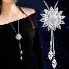 High Quality Crystal Snowflake Swan Pendant Long Adjustable Silver Necklace
