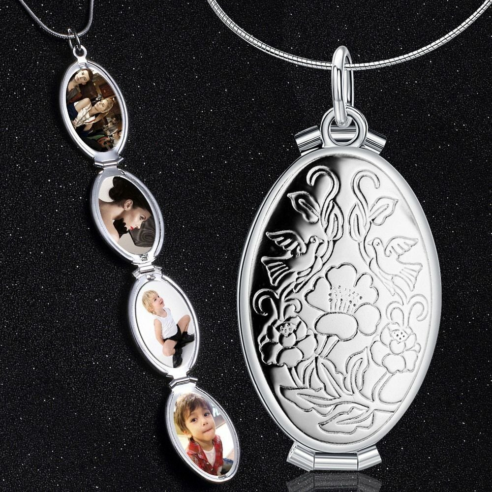 Photo Frame Memory Roses Birds Fish Scale Locket Pendant Silver Gold Necklace