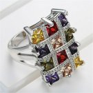 Contemporary Luxury Large Wide Setting Multicolor High Quality CZ Crystals Ring