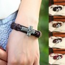 Handmade Antique Silver Cross Genuine Leather Cuff Bracelets FREE Essential Oil