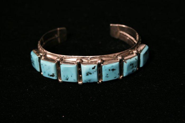 Square Turquoise Blocks Handmade Indian Bracelet-2