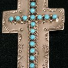 Sterling and Turquoise Cross Handmade Indian Pendant-6