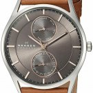 Skagen Holst Multifunction Brown Leather Strap Men's Stainless Steel Watch SKW6086