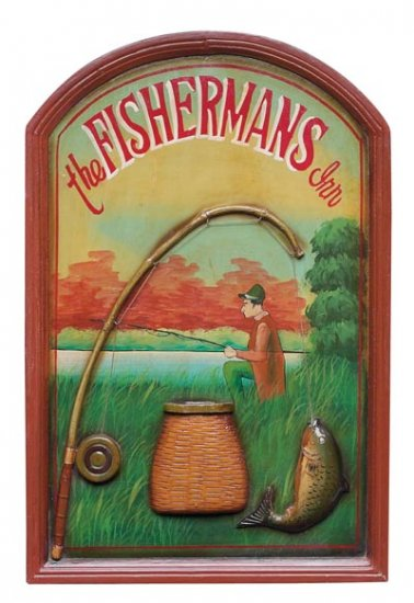 Club Fun Fisherman's Inn Hand Painted Sign
