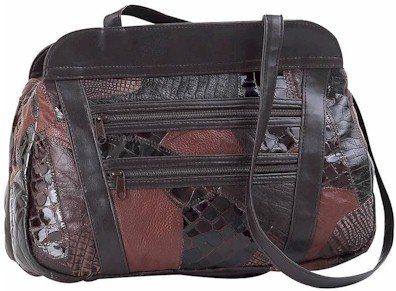 Embassy Italian Stone Design Genuine Leather Purse with Faux Snake Skin Embossing