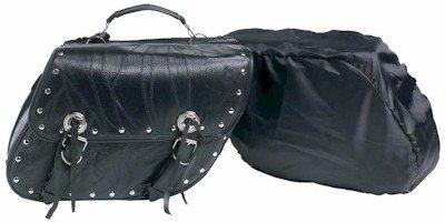 Diamond Plate 2pc Rock Design Genuine Buffalo Leather Motorcycle Saddle Bag Set