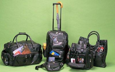 Maxam Italian Stone Design 5pc Genuine Lambskin Leather Luggage