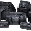 Diamond Plate 7pc Alligator Embossed Genuine Buffalo Leather Motorcycle Luggage