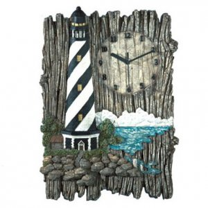 Driftwood and Lighthouse Wall Clock