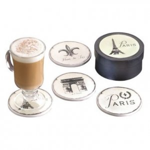 French Cafe Assorted Coasters (4 Pc. Set)