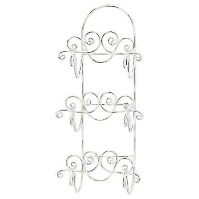 Distressed White Wrought Iron Towel Rack