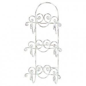 Distressed White Wrought Iron Towel Rack