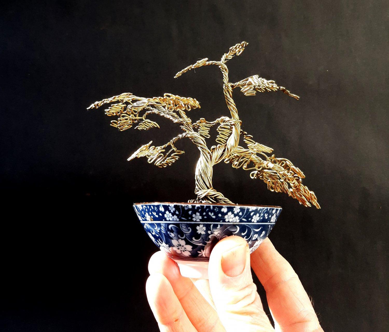 Wire Bonsai Tree Art Sculpture With a Japanese porcelain bowl
