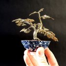 Wire Bonsai Tree Art Sculpture With a Japanese porcelain bowl